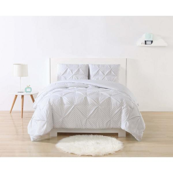 My World Anytime Dot Pinch Pleat Gray Queen Duvet Set