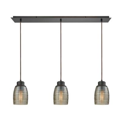 Muncie 3-Light Linear Pan in Oil Rubbed Bronze with Champagne Plated Spun Glass Pendant