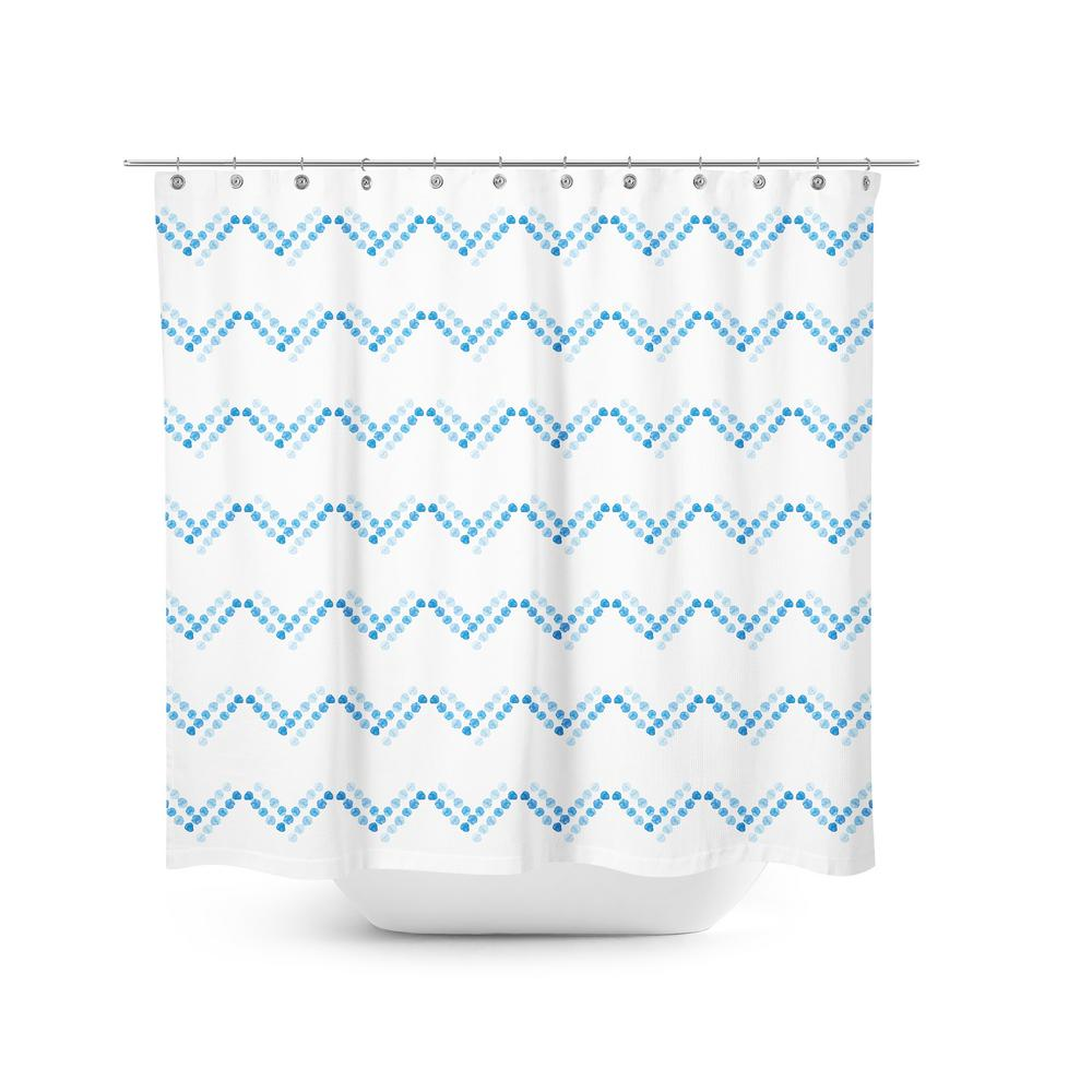 Best Home Fashion Blue Dot 72 In Chevron Shower Curtain