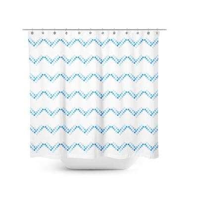 Blue Dot 72 in. Chevron Shower Curtain