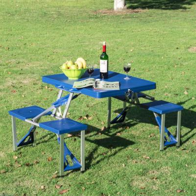 4-Person Plastic Portable Compact Folding Suitcase Picnic Table Set with Umbrella Hole and Simple Setup Blue