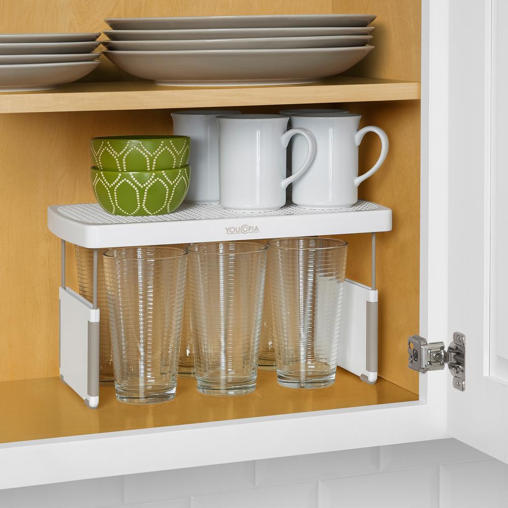 StoreMore Plastic Adjustable Shelf Riser in White (2-Pack)