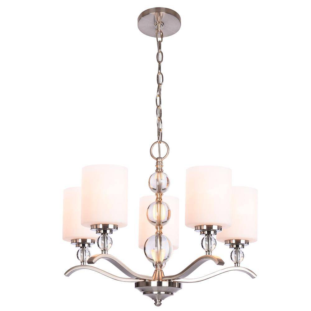 Hampton Bay Laurel Hill 5 Light Brushed Nickel Chandelier With Opal Gl Shades And Ball Accents