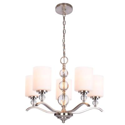 Laurel Hill 5-Light Brushed Nickel Chandelier with Opal Glass Shades and Glass Ball Accents