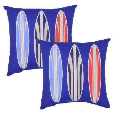 Surf's Up Square Outdoor Throw Pillow (2-Pack)