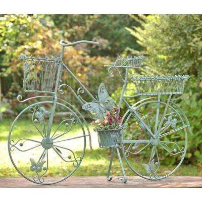 Large Antique Green Iron Bicycle Plant Stand With Erflies
