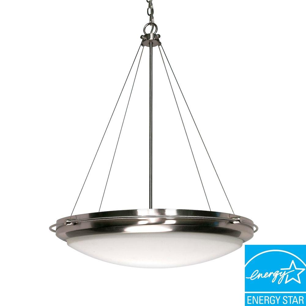 3-Light Brushed Nickel Pendant with White Opal Glass