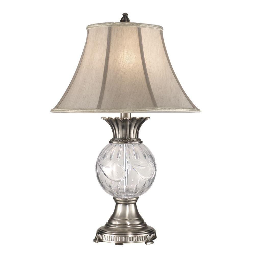 Dale Tiffany 29 in. Adriana Antique Pewter Table Lamp with Crystal Shade