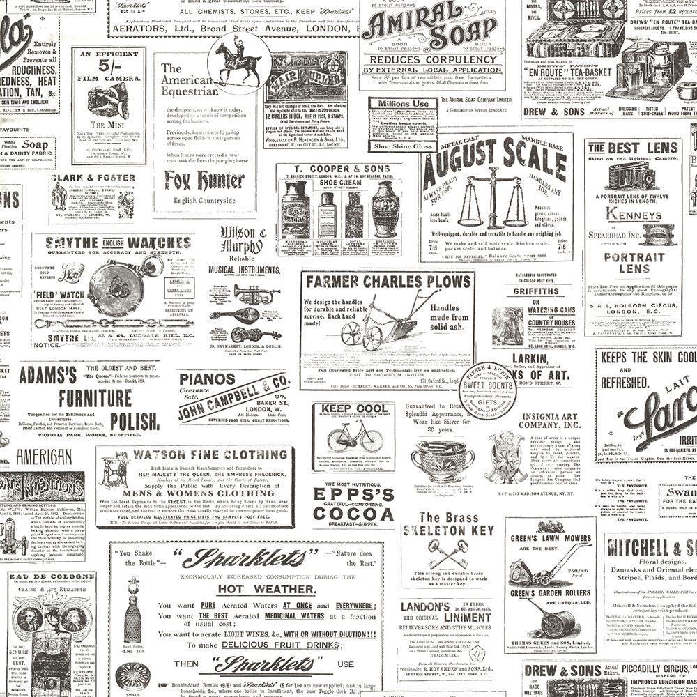Adamstown Ivory Vintage Newspaper Wallpaper