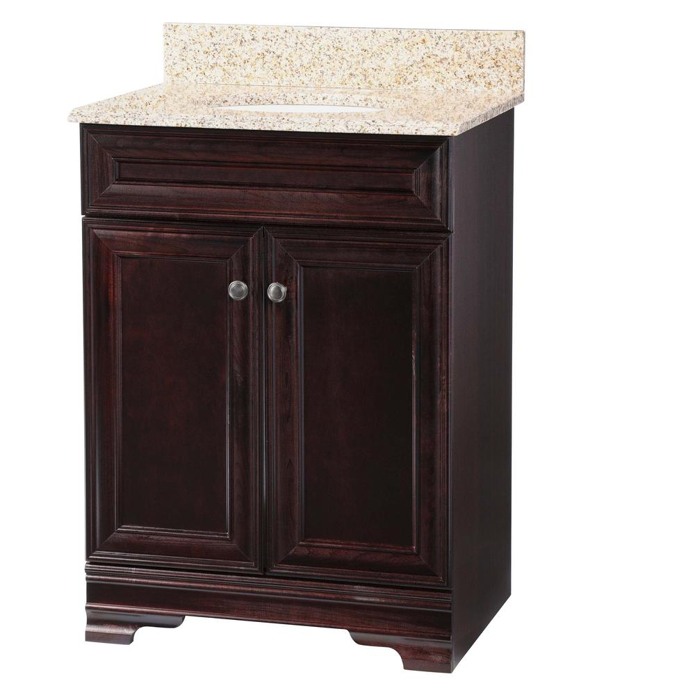 Home Decorators Collection Grafton 25 In. W Bath Vanity In Crimson With  Granite Vanity Top In Beige With White Basin PPWYNCRM24   The Home Depot