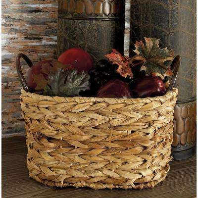 Natural Brown Oval Braided Corn Leaf Wicket Baskets with Iron Ring End Handles (Set of 3)