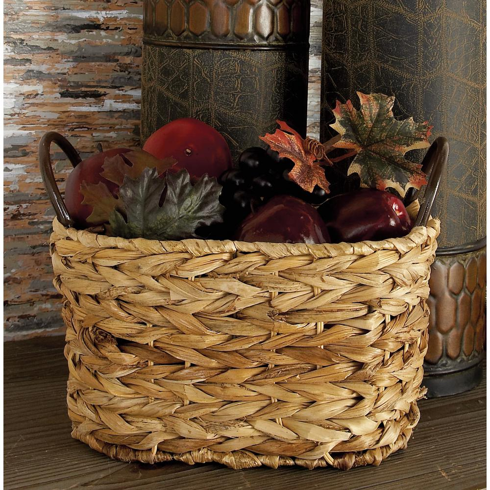 Natural Brown Oval Braided Corn Leaf Wicket Baskets with Iron Ring