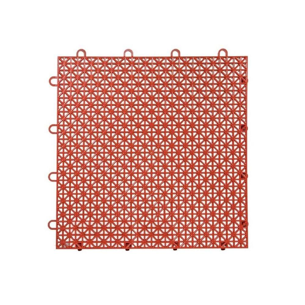 Armadillo Tile Red Clay 12 in. x 12 in. Polypropylene Interlocking