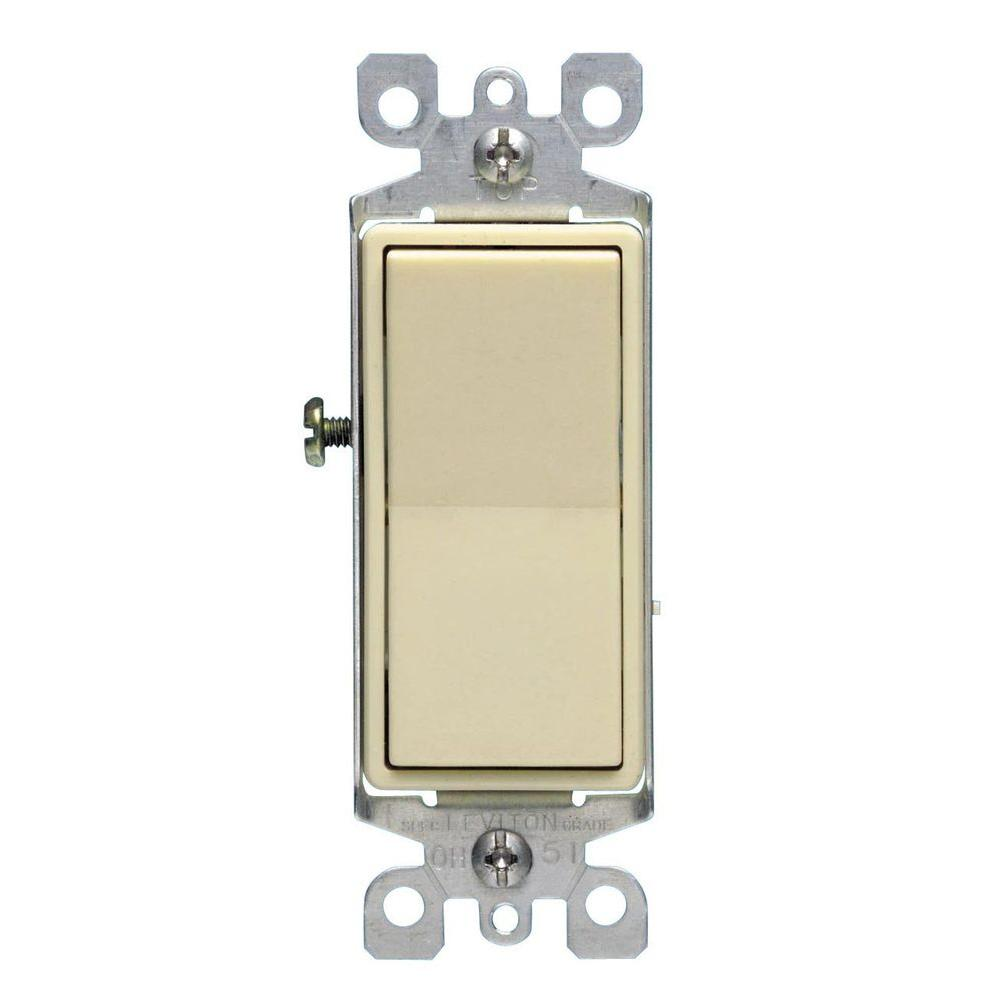 Leviton Decora 15 Amp Single Pole AC Quiet Switch (10-Pack) - Ivory-DISCONTINUED