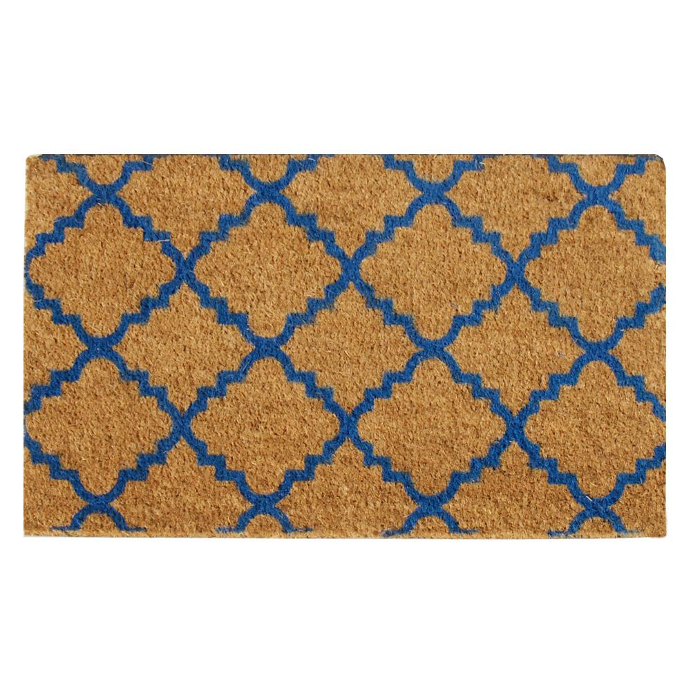 Rubber-Cal Casablanca 30 in. x 18 in. Blue Outdoor Coco Mat