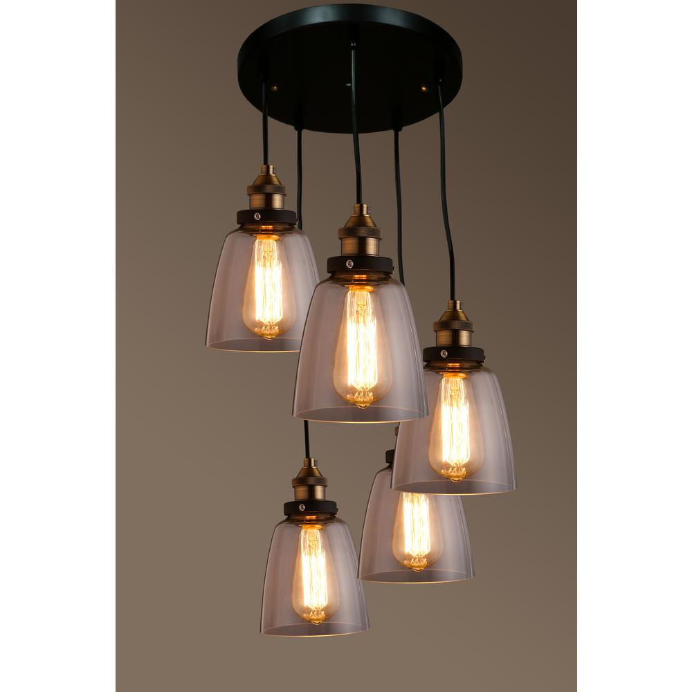 Warehouse of tiffany edison euna collection 5 light black clear glass indoor pendant