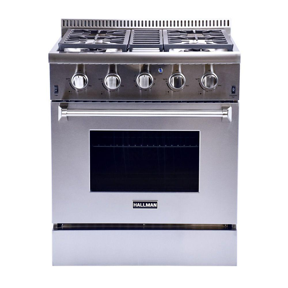 hallman 30 in. 4.2 cu. ft. professional convection gas range in