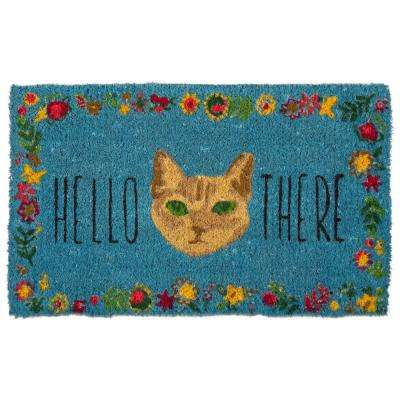 Hello There Cat 18 in. x 30 in. Coir Door Mat