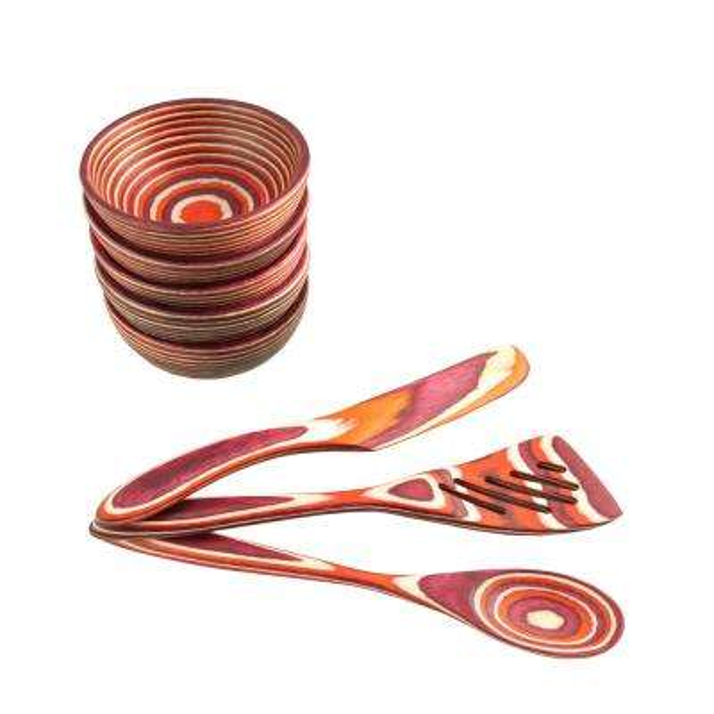 Red Pakka Round Pinch Bowl 8-Piece Set