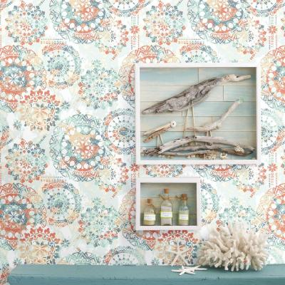 28.18 sq. ft. Blue, White and Pink Soft Bohemian Peel and Stick Wallpaper