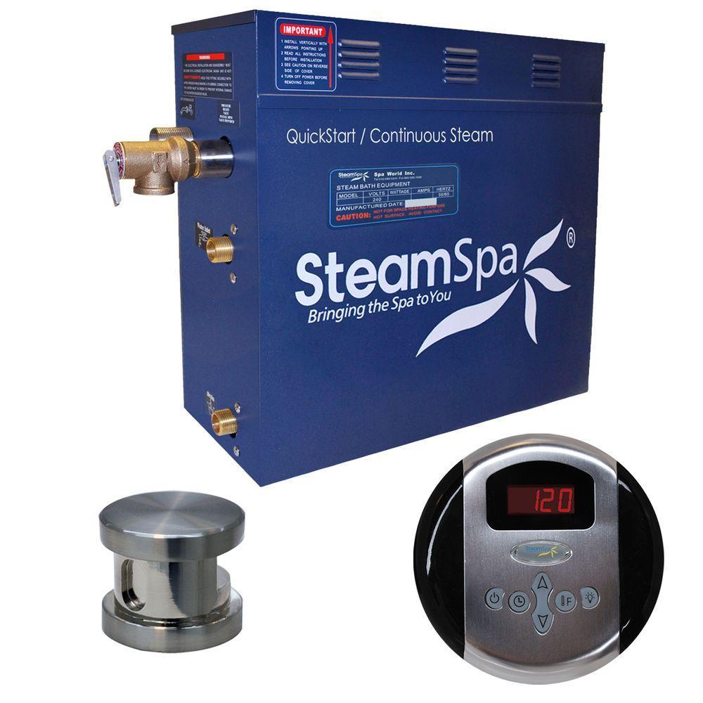 Oasis 7.5 KW QuickStart Steam Bath Generator Package in Brushed Nickel