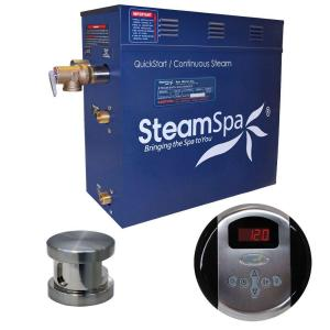 SteamSpa Oasis 7.5 KW QuickStart Steam Bath Generator Package in Brushed Nickel by SteamSpa