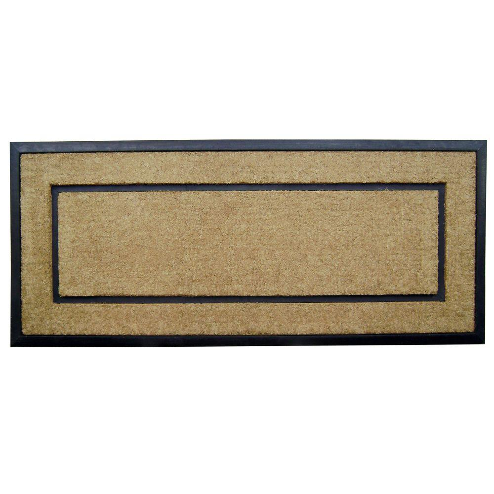Nedia Home DirtBuster Single Picture Frame Black 24 in. x 57 in. Coir with Rubber Border Door Mat