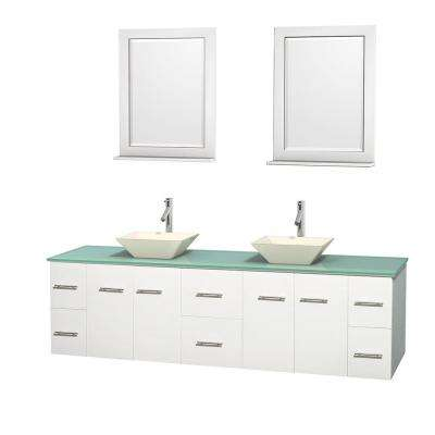 Centra 80 in. Double Vanity in White with Glass Vanity Top in Green, Bone Porcelain Sinks and 24 in. Mirrors