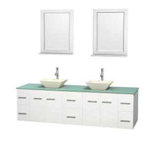 Wyndham Collection Centra 80 inch Double Vanity in White with Glass Vanity Top in Green, Bone Porcelain Sinks and 24... by Wyndham Collection