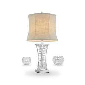 26.5 inch Lunette Glass Table Lamp Vase Set by