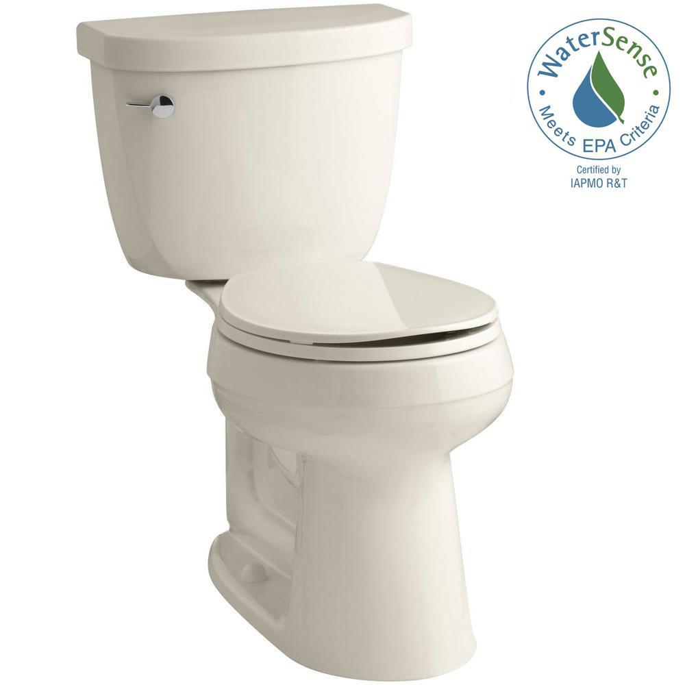 Cimarron Comfort Height 2-piece 1.28 GPF Single Flush Round Toilet with AquaPiston Flush Technology in Almond