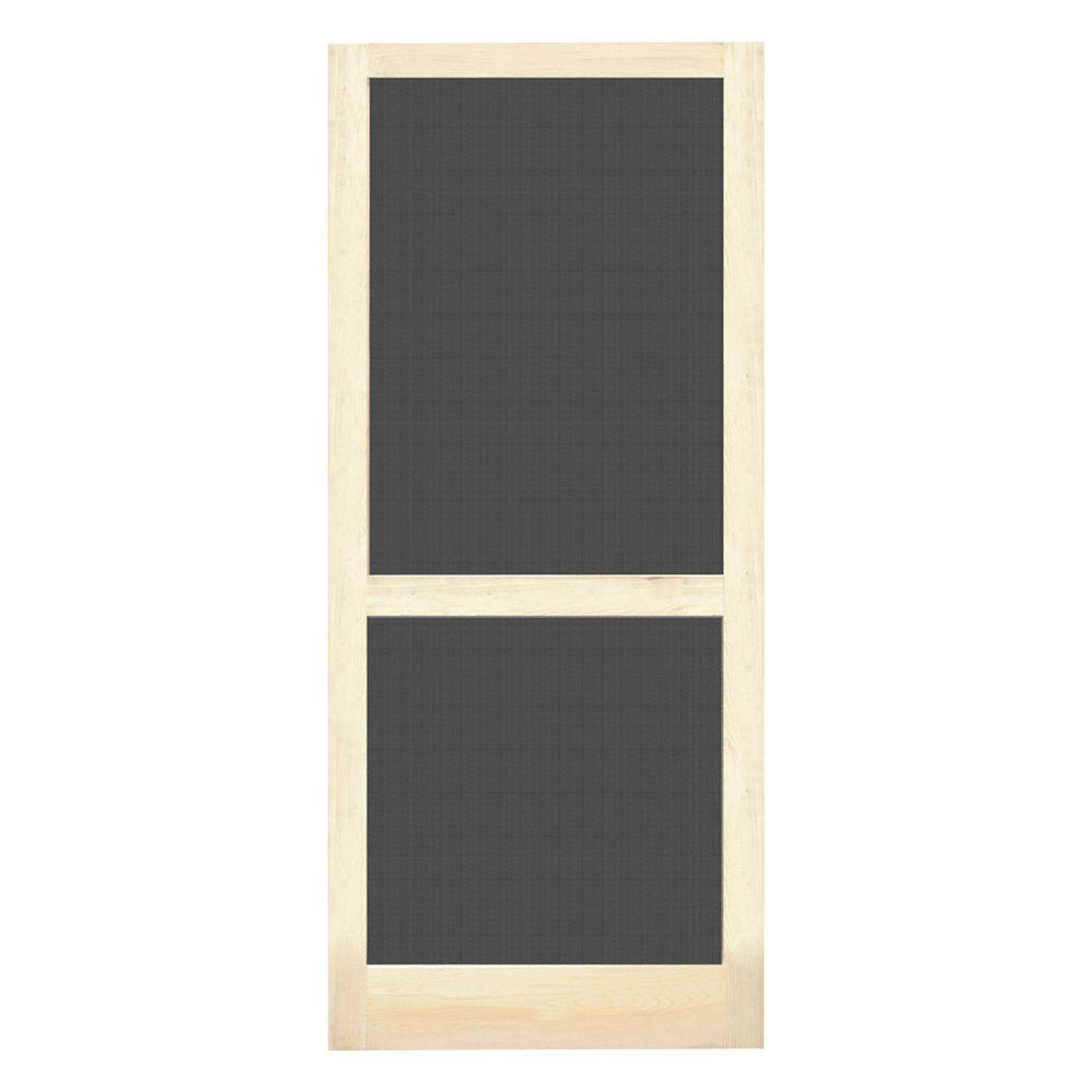 Screen Tight 32 in. x 80 in. Natural Wood Unfinished Screen Door ...