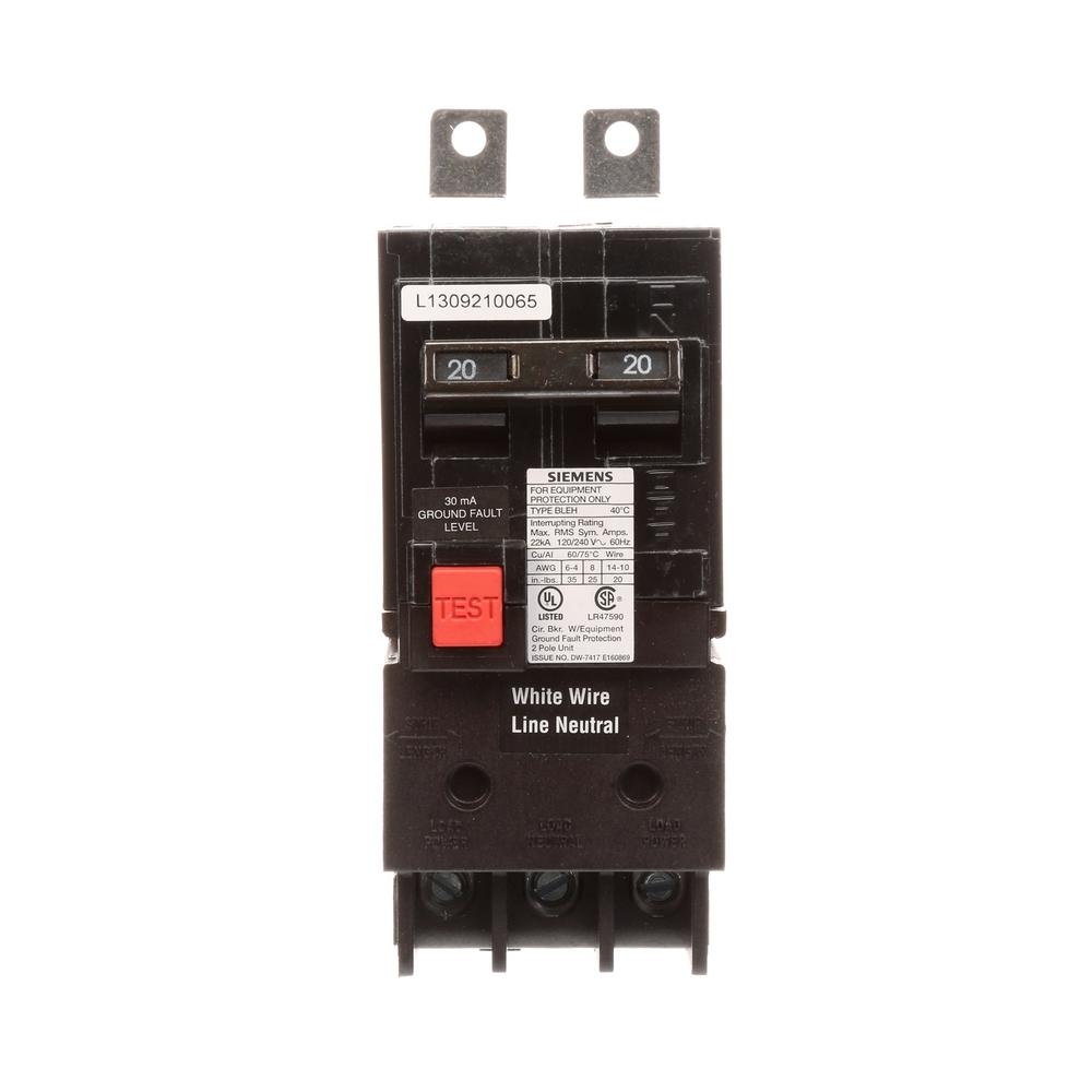 siemens 20 amp double pole 22 ka type bleh gfi circuit breaker interrupter be220h the home depot. Black Bedroom Furniture Sets. Home Design Ideas