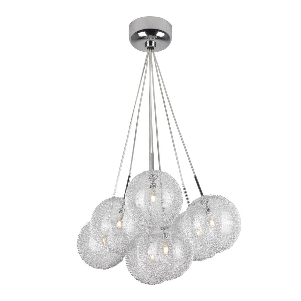Bazz lume series 7 light chrome and mesh pendant fixture with seven bazz lume series 7 light chrome and mesh pendant fixture with seven spheres aloadofball Images