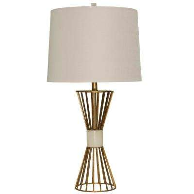 33.5 in. Antique Brass Table Lamp with Beige Styrene Shade
