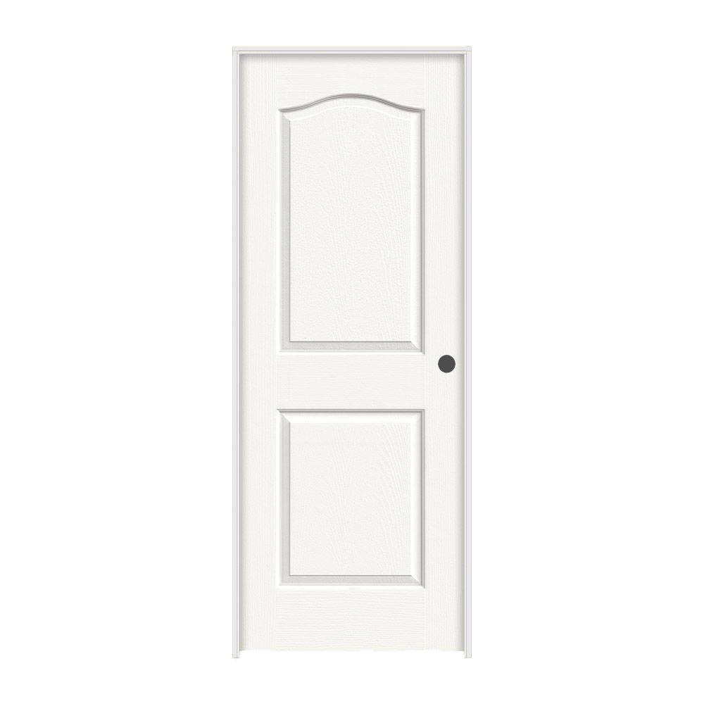 JELD-WEN 28 in. x 80 in. Princeton White Painted Left-Hand Smooth Solid Core Molded Composite MDF Single Prehung Interior Door