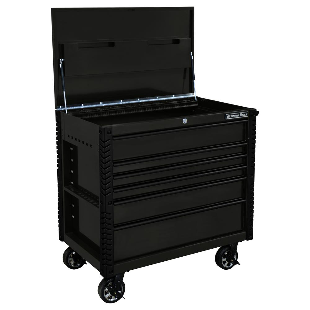 Extreme Tools EX Professional 41 in. 6-Drawer Tool Utility Cart w/ Stainless Steel Slider Top and Bumpers in Black