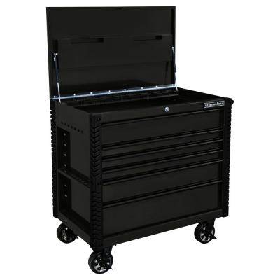 EX Professional 41 in. 6-Drawer Tool Utility Cart with Stainless Steel Slider Top and Bumpers in Black