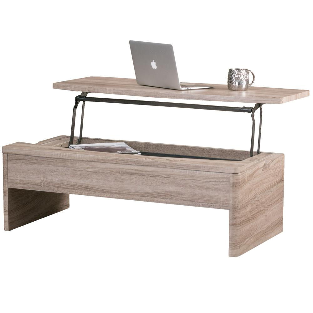 Le House Dark Sonoma Rectangular Storage Coffee Table