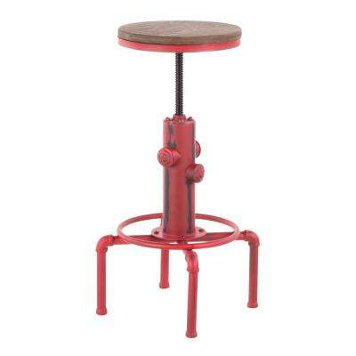 Hydra Adjustable Industrial Red and Brown Bar Stool