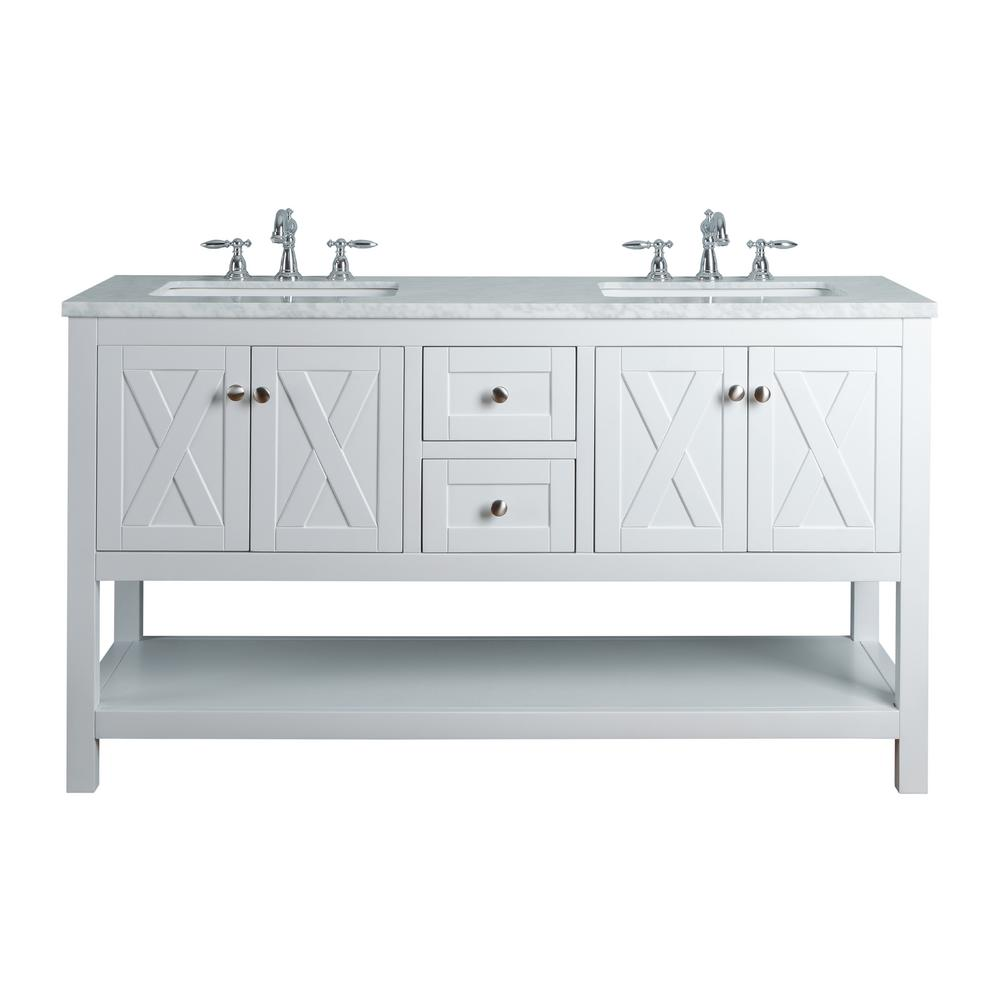 White Double Sink Bathroom Vanity with Marble Vanity Top and White