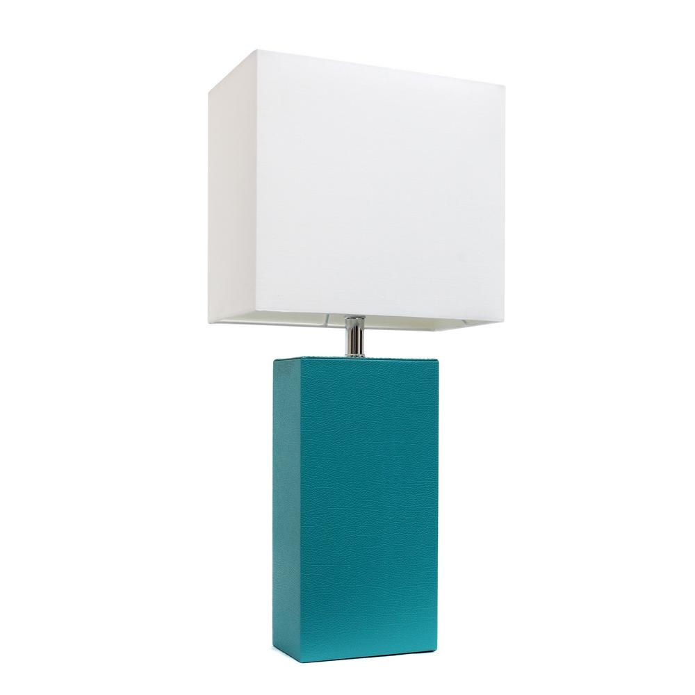 Rectangular table lamps lamps the home depot modern teal leather table lamp with white fabric shade geotapseo Images