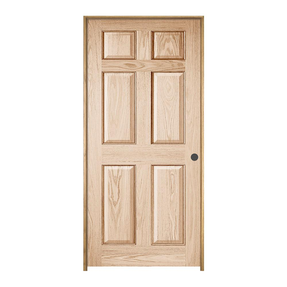 Jeld Wen 28 In X 80 In Oak Clear Lacquered Left Hand 6 Panel Wood