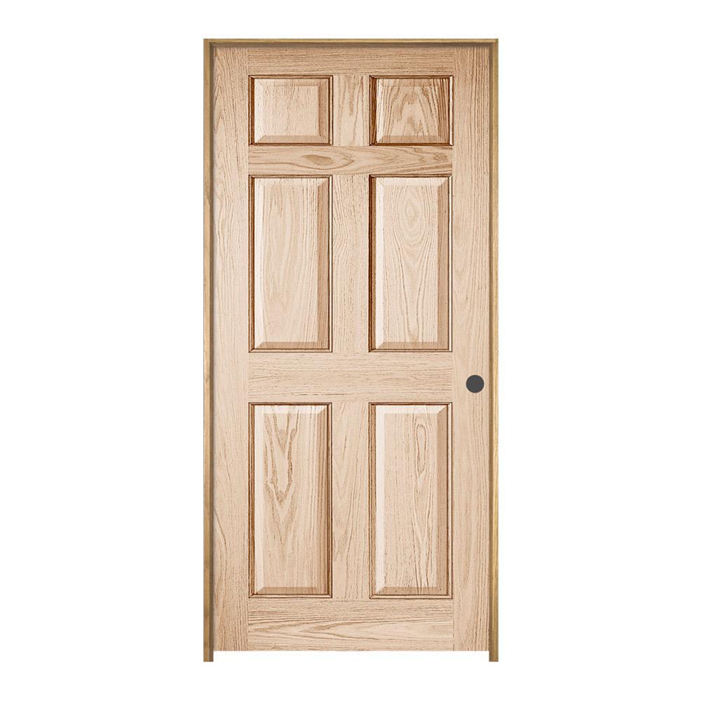 Jeld Wen 30 In X 80 In Oak Clear Lacquered Left Hand 6 Panel Wood Single Prehung Interior Door