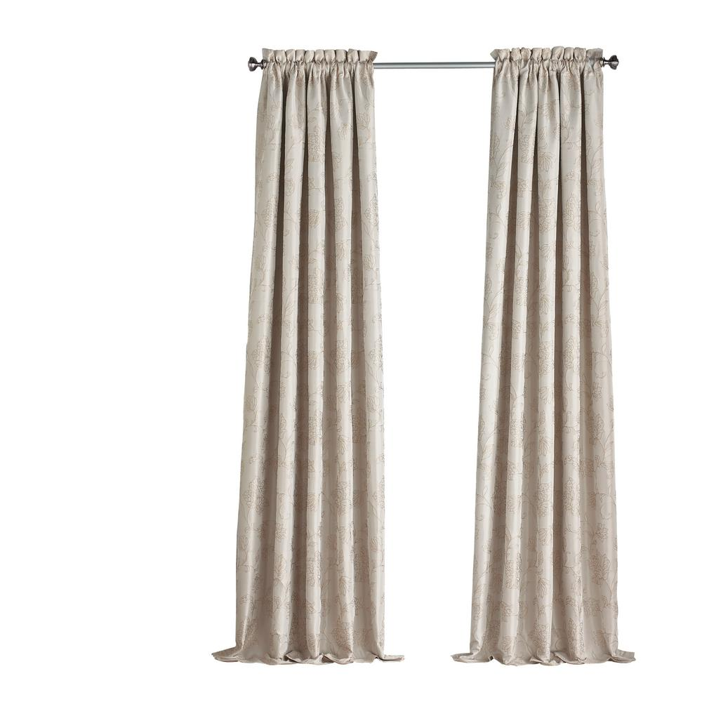 Eclipse Mallory Blackout Floral Window Curtain Panel in Ivory - 52 in. W x 108 in. L