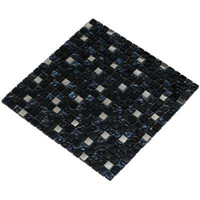 MeshPess/Diamond, Navy and Silver, 4 in. x 4 in. x 8 mm Glass Mesh-Mounted Mosaic Tile, Tile Sample