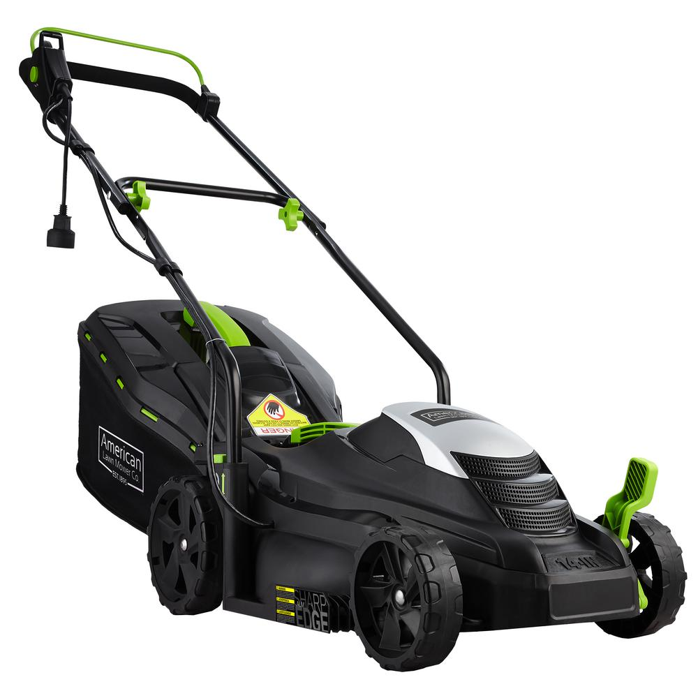 American Lawn Mower Company 14 in. 11 Amp Corded Electric Walk Behind Push Mower The American Lawn Mower electric corded push mower provides a clean, reliable cut every time. The 11 Amp motor is powerful enough to tackle the toughest mowing jobs and is a great mower for homeowners that maintain small lawns. This lean, mean, compact mower will take care of all the hard work in a eco-friendly fashion with no oil or gas. This mower starts every time with just a push of a button and is always ready when you are. With the adjustable handle length, this mower can be custom fit to accommodate all users. The 14 in. steel blade will cut grass clean anywhere from 1 in. to 2.5 in. H with the 5-position easy-adjust cutting height options. This mower also features a grass bag with a level indicator allowing users to know when the bag is full. The lightweight and compact design makes this mower extremely easy to operate and even easier to store when not in use. 2-year Warranty.