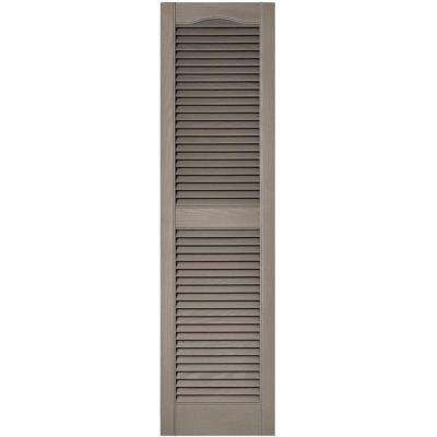 15 in. x 55 in. Louvered Vinyl Exterior Shutters Pair in #008 Clay
