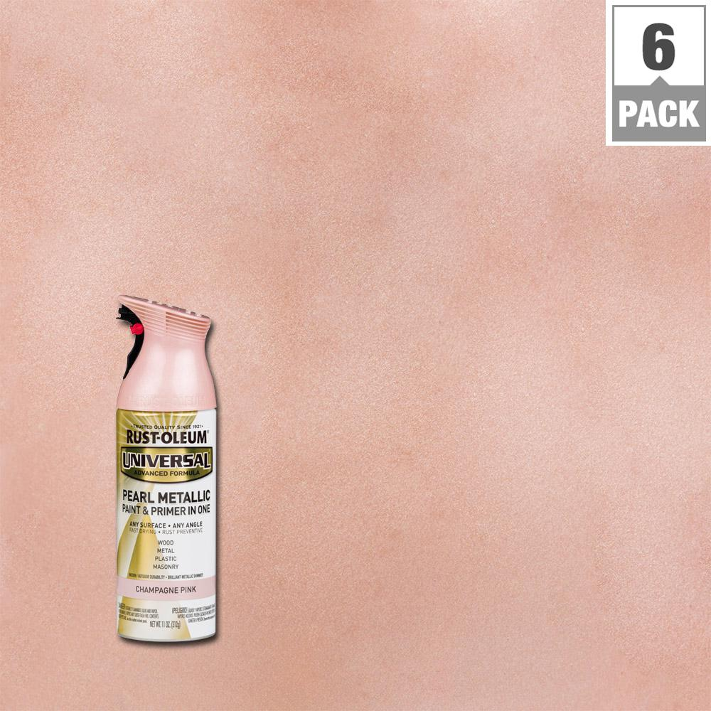 11 oz. Pearl Metallic Champagne Pink Spray Paint and primer in
