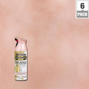 Rust Oleum Universal 11 Oz Pearl Metallic Champagne Pink Spray Paint And Primer In 1 6 Pack